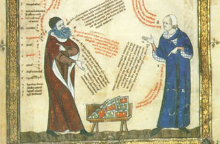 Ramon Llull discussing his books with Thomas le Myésier. Breviculum, XI. Thomas Le Myésier, 1325.