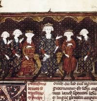 "Felipe IV ""The Fair"" (1268-1314). King of France and Navarra (1285-1314). The king in the centre. French illuminated manuscript (14th century). Gothic art. Miniature. Paris. Biblioteque National. BeBa/Iberfoto. Photoaisa."