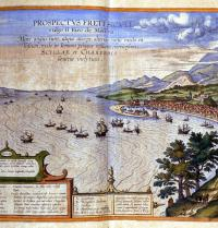 Strait of Messina. Calabria left and Messina and Mount Etna, right. Atlas by Braun and Hogenberg (Amsterdam, 1585). Engraving. Leemage. Photoaisa.