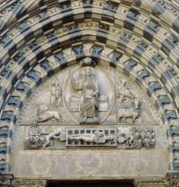 Façade of the Cathedral of San Lorenzo. Tympanum of the Main Portal. Christ with the tetramorphos (Evangelists' symbols) and the Martyrdom of San Lorenzo. Gothic art. Relief. Genoa. Italy. Archivio Seat/Alinari. Photoaisa.