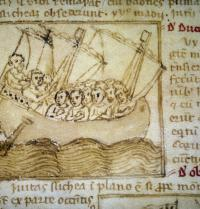 Pilgrims travelling to the Holy Land. Illustration in «Peregrinationem in Terram Sanctam», 12th century. Biblioteca Marciana, Venice. Miniature. Costa/Leemage. Photoaisa.
