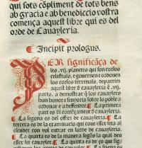 First page of the prologue of Libre del Orde de Cavaylería ('Book of the Order of Chivalry'). Facsimile manuscript from the 15th century. Iberfoto. Photoaisa.
