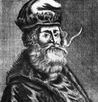 Ramon Llull. Portrait of the 16th century. Schweizerische Sammlung f. Historisches Apothekenwesen. Basilea, Suiza. Grabado. FRimages. Photoaisa.