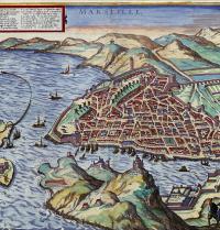 Marseillako planoa (1575). Civitates Orbis Terrarum, Georg Braunena eta Frans Hogenbergena. II. liburukia.  Errenazimenduko grabatua. Ullstein. Photoaisa.