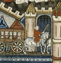 Entry into Paris of a stagecoach. Scenes of the life of St. Denis («Vie de Saint Denis»), 1317. Fol.125. Gothic art. Miniature. Paris. Bibliotheque Nationale. Iberfoto. Photoaisa.