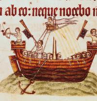 Ship full of people. Psalter of Lutrell. Gothic 14th century. Iberfoto. Photoaisa.