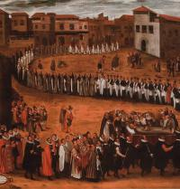 Ramon Llull's burial, according to oil painting by Miquel Bestard (1592-1633). Ajuntament de Palma.