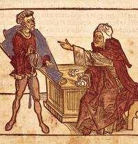 Jewish money-lender. «Sanctorum Peregrinationes in Terram Sanctam», by Bernhard von Breindenbach (1440-1497). Gothic art. BeBa/Iberfoto. Photoaisa.