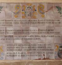 Text auf Keramikfliesen. Kloster Santa Maria de la Real. Palma. IRU, S.L.