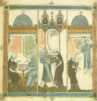 Ramon Llull lernt Arabisch von einem Sklaven auf Mallorca. Breviculum, III. Thomas le Myésier, 1325. http://lullianarts.net/