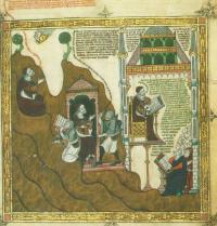 Ramon Llull escribiendo. Breviculum, IV. Thomas le Myésier, 1325.