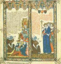 Ramon Llull trifft sich mit dem Papst. Breviculum, VIII. Thomas le Myésier, 1325. http://lullianarts.net/