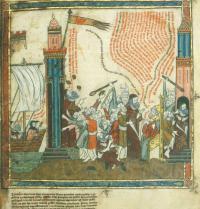Ramon Llull wird gesteinigt und eingesperrt in Bejaia (Algerien). Breviculum, X. Thomas le Myésier, 1325. http://lullianarts.net/