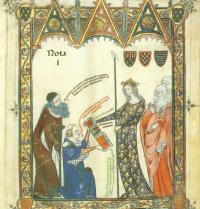 Ramon Llull aprèn l'àrab d'un esclau a Mallorca. Breviculum, III. Thomas le Myésier, 1325.