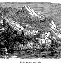 Castle of Bejaia. Romantic engraving. La France coloniale illustrée, de Alexis M. Gochet. Wiquipedia.